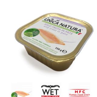 Alimento Umido Cane - Unica Natura - Solo Trota in paté - UNICO MONO MINI Gr.150