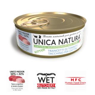Alimento Umido Gatto - Unica Natura - Trancetti di Tonno e Tacchino - Kitten UNICO INDOOR Gr.70