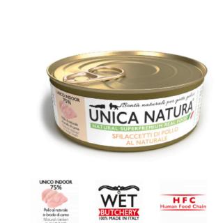 Alimento Umido Gatto - Unica Natura -Sfilaccetti di Pollo al Naturale - Adult UNICO INDOOR gr.70