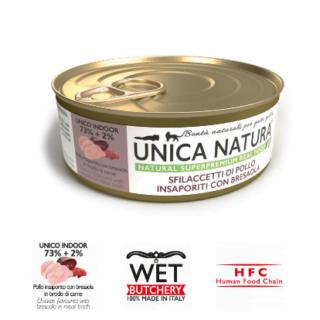 Alimento Umido Gatto - Unica Natura - Sfilaccetti di Pollo con Bresaola - Adult UNICO INDOOR Gr.70
