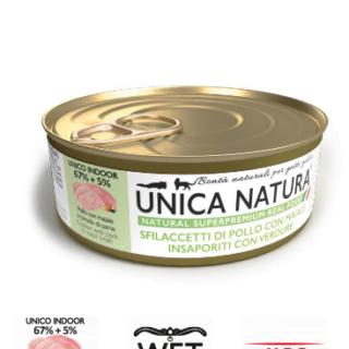 Alimento Umido Gatto - Unica Natura - Sfilaccetti di Pollo e Maiale - Adult UNICO INDOOR Gr.70