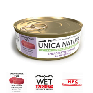 Alimento Umido Gatto - Unica Natura - Sfilaccetti di Tonno al Naturale - Adult UNICO INDOOR Gr.70