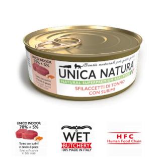 Alimento Umido Gatto - Unica Natura -Sfilaccetti di Tonno con Surimi - Adult UNICO INDOOR Gr.70