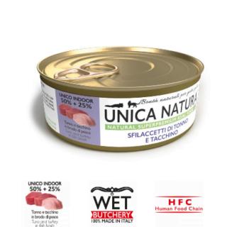 Alimento Umido Gatto - Unica Natura -Sfilaccetti di Tonno e Tacchino - Adult UNICO INDOOR Gr. 70